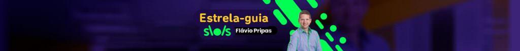 Foto de Flavio Pripas em fundo estilizado verde e roxo, com os dizeres 'Estrela-Guia: Flavio Pripas'