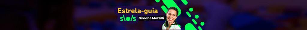 """Banner com foto de Simone Mozzilli e os dizeres """"estrela-guia por Simone Mozzilli"""""""